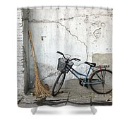 Broom and Bike Shower Curtain by Glennis Siverson