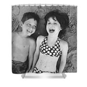 Brother And Sister On Beach Shower Curtain by Michelle Quance