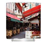 Brussels Restaurant Street - Rue De Bouchers Shower Curtain by Carol Groenen