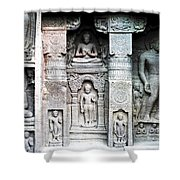 buddha carvings at ajanta caves Shower Curtain by Sumit Mehndiratta