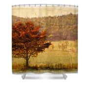 Burning Bush Shower Curtain by Debra and Dave Vanderlaan