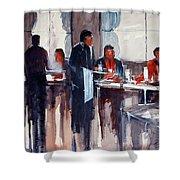Business Lunch Shower Curtain by Ryan Radke