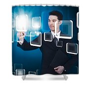 Businessman Pressing Touchscreen Shower Curtain by Setsiri Silapasuwanchai