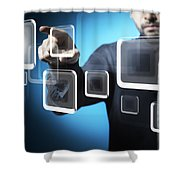 Businessman Touching Screen Button Shower Curtain by Setsiri Silapasuwanchai
