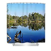 By The River Shower Curtain by Kaye Menner