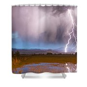 C2g Lightning Bolts Striking Longs Peak Foothills 6 Shower Curtain by James BO  Insogna