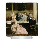 Cafe Scene In Paris Shower Curtain by Henri Gervex