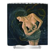 Cancer From Zodiac Series Shower Curtain by Dorina  Costras