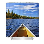 Canoe Bow On Lake Shower Curtain by Elena Elisseeva