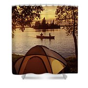 Canoeing At Otter Falls, Whiteshell Shower Curtain by Dave Reede