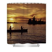 Canoeing At Sunset, Otter Falls Shower Curtain by Dave Reede
