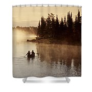 Canoeing On Winnipeg River, Pinawa Shower Curtain by Dave Reede