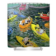 Canoes Shower Curtain by Andrew Macara