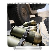 Cans Of Opened 40 Mm Grenades Shower Curtain by Stocktrek Images