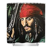 Captain Jack Sparrow Shower Curtain by Tom Carlton
