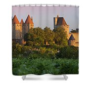 Carcassonne Dawn Shower Curtain by Brian Jannsen