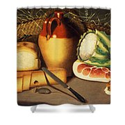 Cat Mouse Bacon And Cheese Shower Curtain by Anonymous