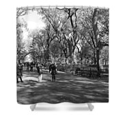 Central Park Mall In Black And White Shower Curtain by Rob Hans