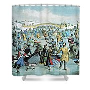 Central Park Skating Pond New York Shower Curtain by Photo Researchers
