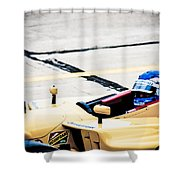 Champ Car Driver Shower Curtain by Darcy Michaelchuk