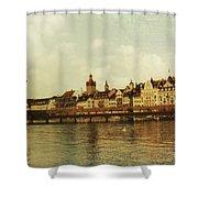 Chapel Bridge Lucerne Switzerland Shower Curtain by Susanne Van Hulst