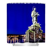 Charles Bridge Statue Of St John Of Nepomuk     Shower Curtain by Jon Berghoff