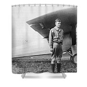 Charles Lindbergh American Aviator Shower Curtain by Photo Researchers