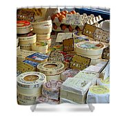 Cheese For Sale Shower Curtain by Carla Parris