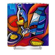 Cheese Shower Curtain by Leon Zernitsky