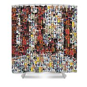 Chicago Bulls Michael Jordan Cards Mosaic Shower Curtain by Paul Van Scott