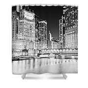 Chicago Cityscape At Night At Dusable Bridge Shower Curtain by Paul Velgos
