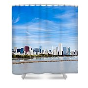 Chicago Lakefront Skyline Wide Angle Shower Curtain by Paul Velgos