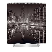 Chicago River East BW Shower Curtain by Steve Gadomski