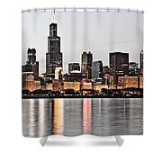 Chicago Skyline At Dusk Photo Shower Curtain by Paul Velgos