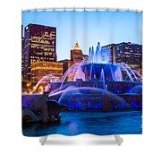 Chicago Skyline Buckingham Fountain High Resolution Shower Curtain by Paul Velgos