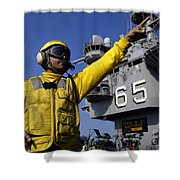 Chief Aviation Boatswains Mate Directs Shower Curtain by Stocktrek Images