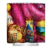 Children - Toy - Earliest Childhood Memories Shower Curtain by Mike Savad