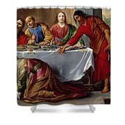Christ In The House Of Simon The Pharisee Shower Curtain by Claude Vignon