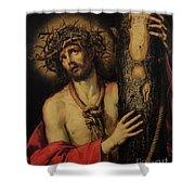 Christ Man Of Sorrows Shower Curtain by Antonio Pereda y Salgado