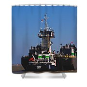 Christiana Oil Tanker Sitting In Galveston Tx Shower Curtain by Susanne Van Hulst