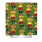 Christmas Teddy Bears Shower Curtain by Genevieve Esson