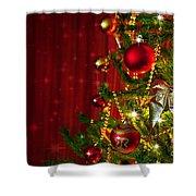 Christmas Tree Detail Shower Curtain by Carlos Caetano