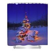Christmas Tree Glowing Shower Curtain by Carson Ganci