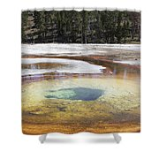 Chromatic Pool Hot Spring, Upper Geyser Shower Curtain by Richard Roscoe