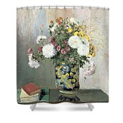 Chrysanthemums In A Chinese Vase Shower Curtain by Camille Pissarro