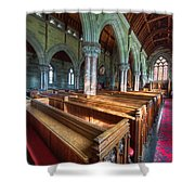 Church Benches Shower Curtain by Adrian Evans