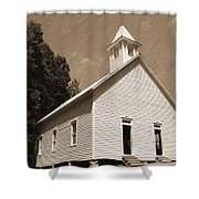 Church In The Mountains Shower Curtain by Barry Jones
