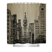 City Hall From North Broad Street Philadelphia Shower Curtain by Bill Cannon