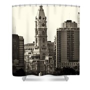 City Hall From The Parkway - Philadelphia Shower Curtain by Bill Cannon