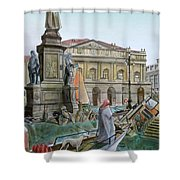 CITY OF MILAN in ITALY UNDER WATER Shower Curtain by Fabrizio Cassetta
